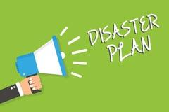 手写文本灾害计划 概念意思反应紧急准备生存和拿着扩音机的急救工具人 向量例证