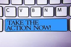 手写文本现在接行动诱导电话 概念意思行动起动及时地直接立即按字母顺序的按钮 免版税库存照片