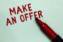 手写文本给予一个条件 概念意思提案带来志愿提议赠送出价格兰特开放红色标志意图com 免版税图库摄影