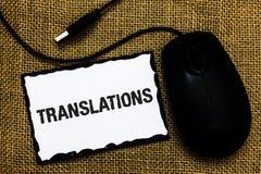 手写文本翻译 翻译的概念意思书面或打印的过程措辞文本声音USB黑色老鼠艺术公猪 库存图片