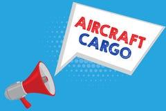 手写文本航空器货物 概念意思承运人航寄运输物品通过飞机 库存例证
