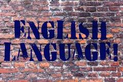 手写文本英语语言 在世界的概念意思三讲话的当地lang在中国和西班牙砖以后 库存照片