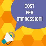 手写文本费用每个印象 概念意思提到登广告者有同意支付数字扩音机的率 皇族释放例证