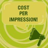 手写文本费用每个印象 概念意思提到登广告者有同意支付数字扩音机的率 库存例证