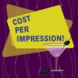 手写文本费用每个印象 概念意思提到登广告者有同意支付被填装的数字的率 皇族释放例证