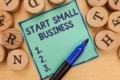 手写文本起动小企业 概念意思令人想往的企业家新的事业贸易产业 图库摄影