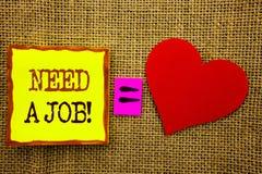 手写文本陈列需要工作 失业失业的工作者查寻的企业概念在Stiky笔记写的事业Pape 库存图片