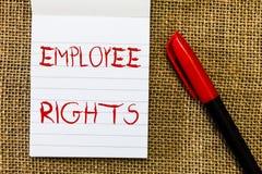 手写文本雇员权利 意味所有雇员的概念有基本权利在他们自己的工作场所 免版税库存照片