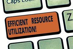 手写文本高效率的资源运用 最大化有效率和生产力键盘键的概念意思 图库摄影