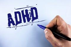 手写文本Adhd 概念意思学会使容易对儿童教没有人写的一个难题在平原 免版税图库摄影