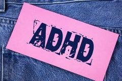 手写文本Adhd 概念意思学会使容易对儿童教没有在稠粘的笔记写的一个难题 库存照片