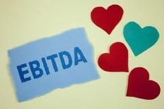 手写文本Ebitda 概念意思收入,在税被测量评估在泪花稠粘没有前写的公司表现 库存图片