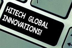 手写文本Hitech全球性创新 概念意思最尖端的涌现的全世界技术键盘键意图 免版税库存图片