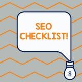 手写文本Seo清单概念项目意思名单要求优选搜索引擎袋子口袋  向量例证
