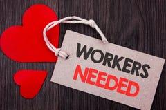 手写显示工作者的公告文本需要 查寻的企业概念事业资源雇员失业Prob 免版税库存图片