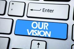 手写显示我们的视觉的公告文本 在keybord的红色钥匙写的销售方针视觉的企业概念 库存图片