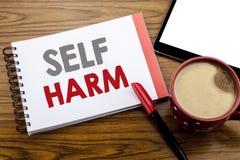 手写显示自已害处的公告文本 在笔记薄便条纸写的Selfharm精神侵略的企业概念  图库摄影