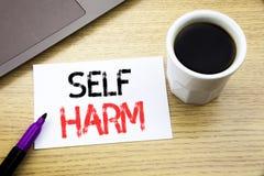 手写显示自已害处的公告文本 在w的笔记本书写的Selfharm精神侵略的企业概念 图库摄影