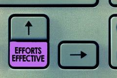 手写有效文本的努力 概念意思根据期望目标目标导致结果达到 库存图片