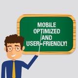 手写用户友好文本的机动性优化和 概念意思现代网网上网络服务人身分藏品 向量例证