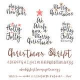 手写的书法典雅的字体 并且祝贺新年快乐和圣诞快乐,卡片的书法 皇族释放例证