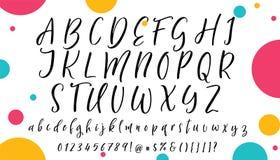 手写的书法字体 scrapbooking向量的字母表要素 拉长的现有量信函 库存例证