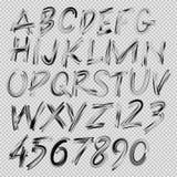 手写的刷子字体、信件和数字 免版税库存图片