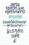 手写的剧本字体 刷子字体 被排版的小写 库存例证