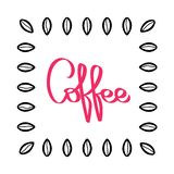 手写的咖啡样式传染媒介 手拉的咖啡豆 黑和红色例证 在白色背景的豆纹理 库存例证