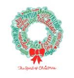 手写的圣诞节花圈卡片词云彩设计 免版税库存图片