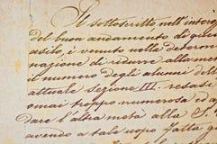 手写的意大利文本葡萄酒 库存照片