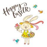 手写的文本跳跃的步子的复活节和手拉的鸟,花,逗人喜爱的兔宝宝女孩用鸡蛋 免版税库存图片