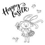 手写的文本跳跃的步子的复活节和手拉的鸟,花,逗人喜爱的兔宝宝女孩用鸡蛋 库存照片