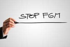 手写的标志-停止FGM 免版税库存照片