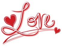 手写的爱横幅或徽标 库存照片