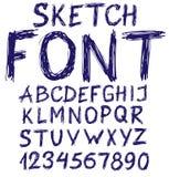 手写的蓝色草图字母表 库存图片