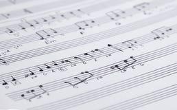 手写的音乐记数法 免版税图库摄影