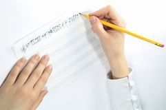 手写的音乐 免版税库存照片