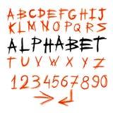 手写的水彩字母表 库存例证