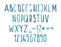 手写蓝色水彩水彩画字体的类型 免版税库存图片