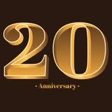 手写,庆祝,周年第20 -第20年周年 库存例证