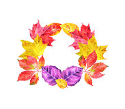 手凹道与秋叶的水彩花圈 免版税库存照片
