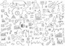手凹道乱画元素金钱和硬币象,图图表 概念企业财务逻辑分析方法收入 也corel凹道例证向量 免版税库存图片