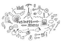 手凹道乱画元素金钱和硬币象,图图表 概念企业财务逻辑分析方法收入 也corel凹道例证向量 免版税库存照片