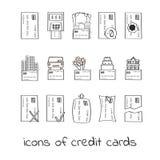 手凹道信用卡象 贷款的线性标志的汇集 免版税库存图片
