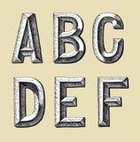 手凹道剪影字母表设计 免版税库存照片
