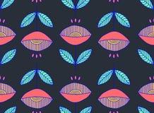 手凹道无缝的葡萄酒花卉样式 可以为织品设计,包装纸,纸设计,背景,纺织品, wallp使用 免版税库存照片