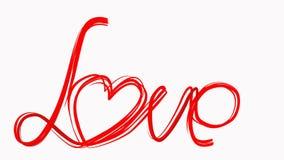 手凹道爱词画笔动画 在白色背景的红颜色心脏 情人节婚礼的概念 库存例证