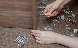 手动地拧紧螺丝的家具木假舱壁使用 库存照片