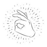 手势, OK,手拉,概述,以线性光芒为背景 皇族释放例证
